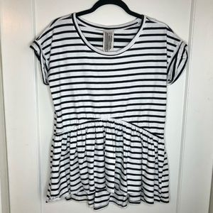 Free People Striped Peplum 100% cotton Small
